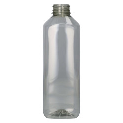 1000 ml Saftflasche Juice Square Gerecycled R-PET Transparent